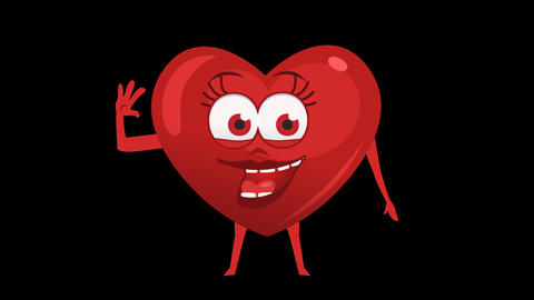 Cartoon Heart with Animated Face. 1th Pose Hi. Alpha Channel Animation