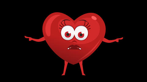 Cartoon Heart with Animated Face. 14th Pose Pointer Bad Double. Alpha Channel Animation