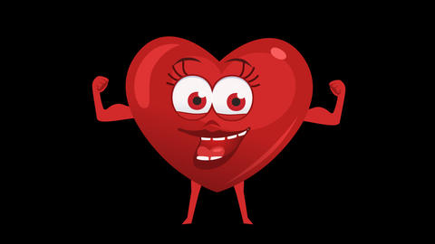 Cartoon Heart with Animated Face. 7th Pose Power Muscle. Alpha Channel Animation