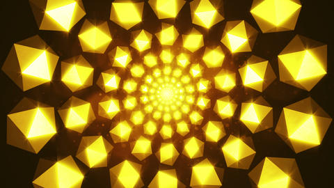 Flickering gold elements form tunnel. 3D rendered Animation