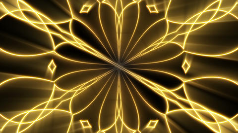 Shining gold kaleidoscope background. Seamless loop Animation