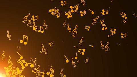 Musical notes float. Abstract background with flares Animation