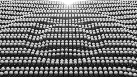 Abstract background with surface black and white sphere. 3D rendered Animation