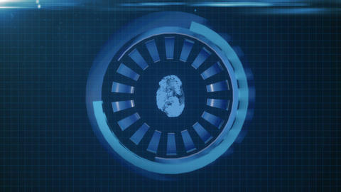 HUD circle interface with different glowing blue elements. Seamless loop Animation
