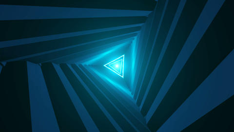 Triangle Future Space Tunnel. A Science Fiction Composition Animation