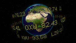 Stock market ticker orbiting earth currency wall st money world shares 4k Footage