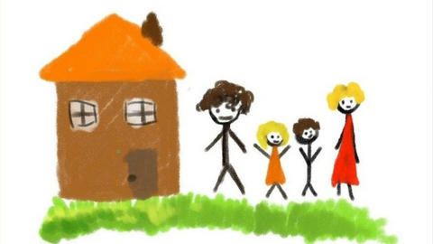 Digital drawing of a family Animation