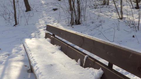 Bench covered with snow in winter Footage