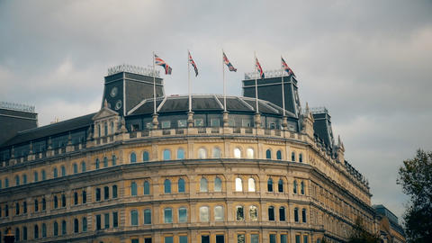 Five British flag flying on the building Footage