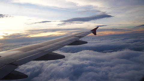 A view from the airplane. The aircraft is flying through... Stock Video Footage