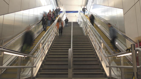 Time lapse. Escalator and stairs to the station Footage