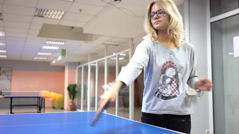 Young Adult Woman Playing A Game Of Table Tennis Footage