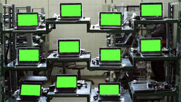 Computer Factory With Green Screens Footage