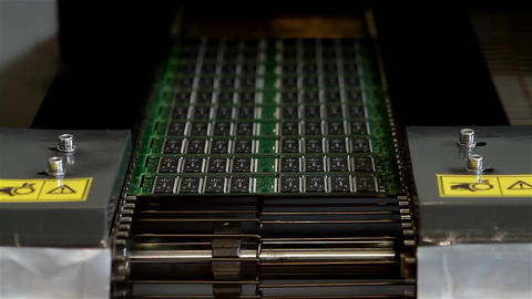Computer Microchips Production Line Footage