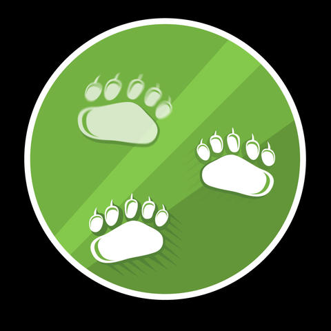 Animal Paws Flat Icon With Alpha Channel Animation