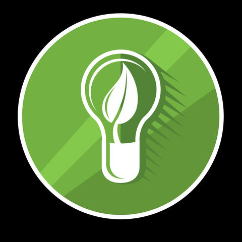 Green Lamp Flat Icon With Alpha Channel Animation