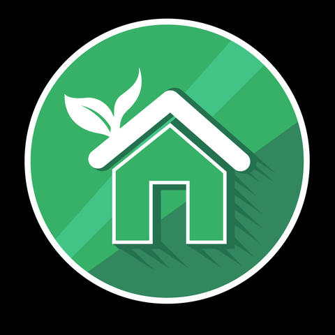 Green House Flat Icon With Alpha Channel GIF