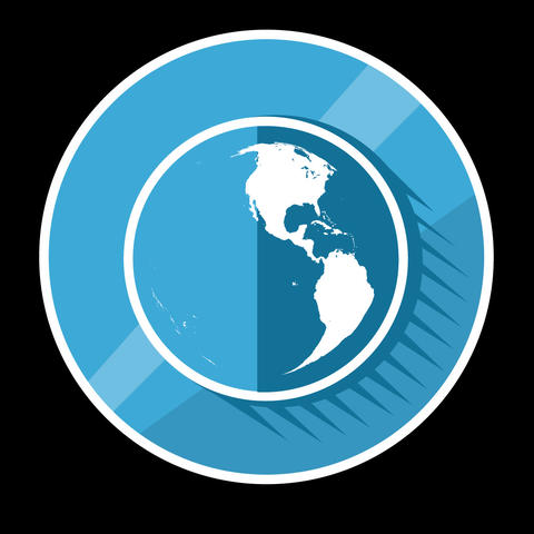 Blue Planet Flat Icon With Alpha Channel Animation