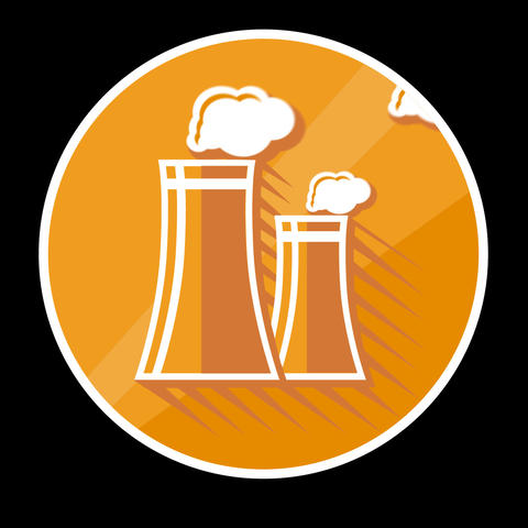 Power Station Flat Icon With Alpha Channel Animation