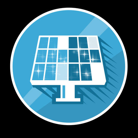 Solar Panels Flat Icon With Alpha Channel Animation