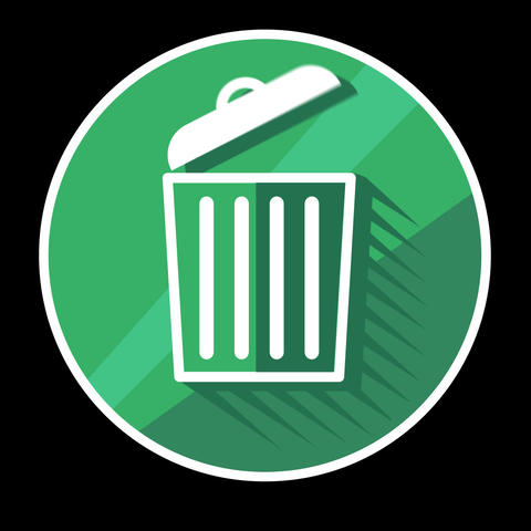 Trash Bin Flat Icon With Alpha Channel Animation