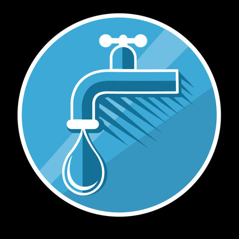 Water Tap Flat Icon With Alpha Channel GIF
