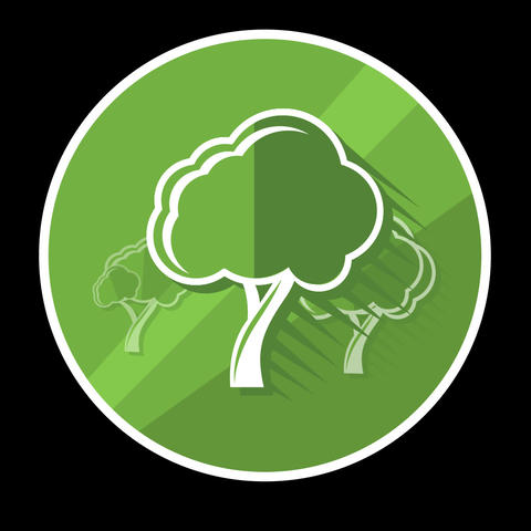 Tree Flat Icon With Alpha Channel Animation