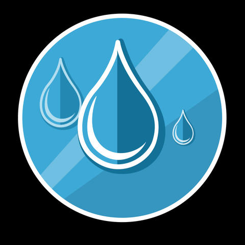 Water Drops Flat Icon With Alpha Channel Animation