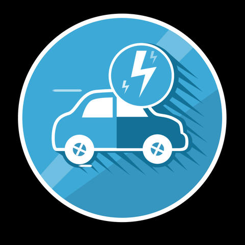 Electric Car Flat Icon With Alpha Channel Animation