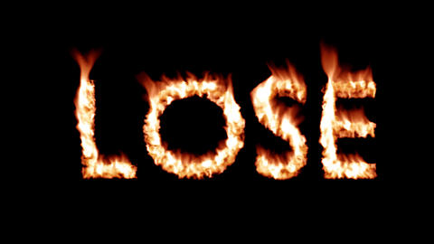 Lose hot text brand branding iron loser metal flaming heat flames overlay 4K Live Action