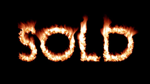 Sold hot text brand branding iron metal flaming heat flames overlay 4K Footage