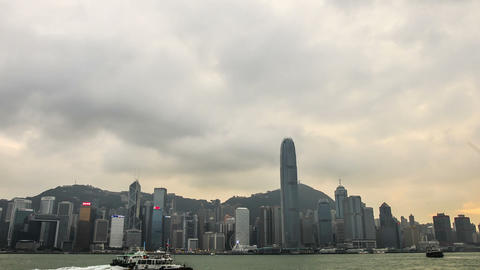 A view of the Hong Kong Island skyscrapers. Timelapse Footage