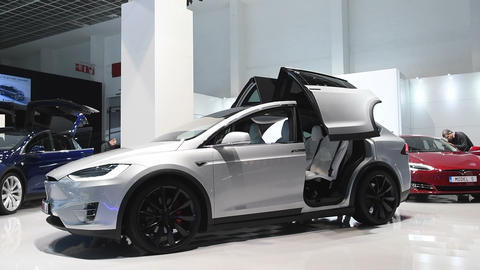 Tesla Model X all-electric, luxury, crossover SUV Live Action