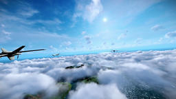 Military drones formation launching missiles, cruising above clouds, ocean and m Animation