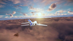 Cessna cruising above clouds at sunset Animation