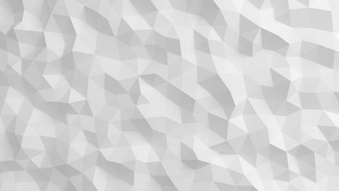 Beautiful White Polygonal Surface Waving in Seamless 3d animation. Abstract Moti Animation