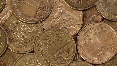 Closeup rotation of Ukrainian coins hryvnya GIF