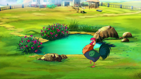 Colorful Rooster near the Pond Videos animados