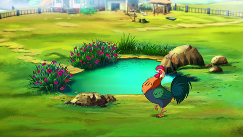 Colorful Rooster near the pond UHD Animation