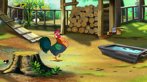 Colorful Rooster on the farm UHD Animation