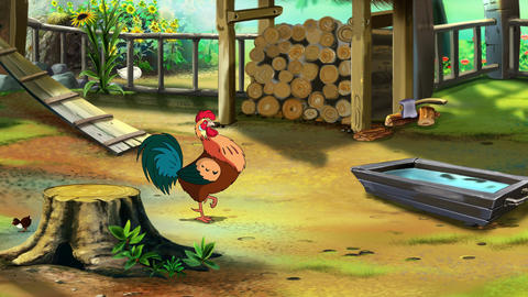 Rufuos Rooster on the farm UHD Animation