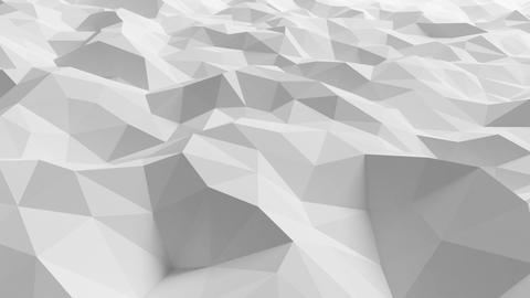 Beautiful White Polygonal Surface Waving in Looped 3d Animation. Seamless Geomet Animation