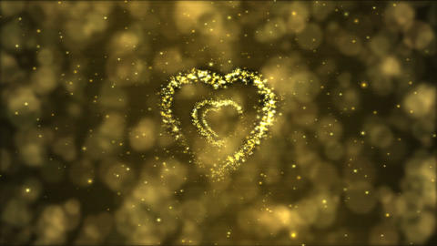 Heart Tunnel Motion Background Animation - Loop Golden Animation