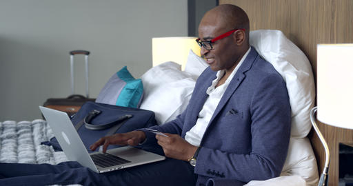 Online Shopping in the Hotel Room Footage