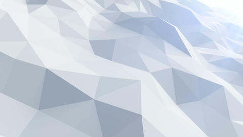 Beautiful Blue Polygonal Surface Waving in Looped 3d Animation. Seamless Geometr Animation