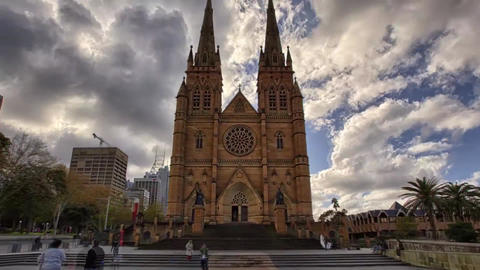 Sydney st Mary's Cathedral - Catholic Church in the Australian City of Sydney Ca Footage
