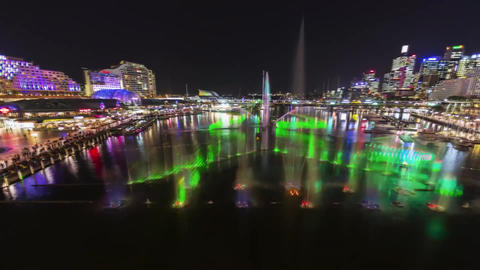 Multi-Colored Water Fountains in Sydney Footage