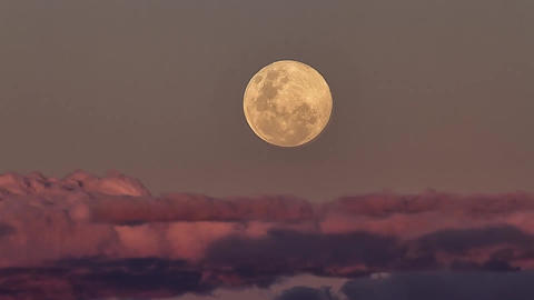 Moon Rises Above The Clouds Footage