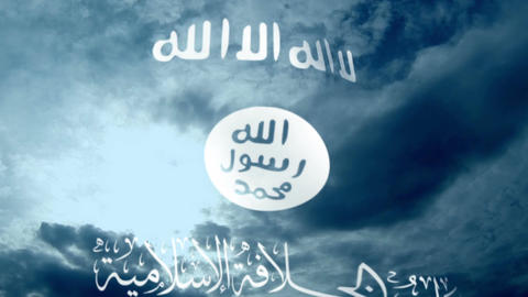 Isil Or Isis (The Islamic State) Flag Against Clouds Footage