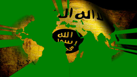 Isis Grunge Flag On World Map Footage